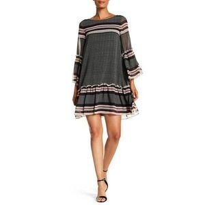 Max Studio Drop Waist Ruffle Sheer Shift Dress